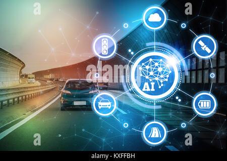 AI(Artificial Intelligence and automotive technology. Autonomous car. - Stock Photo