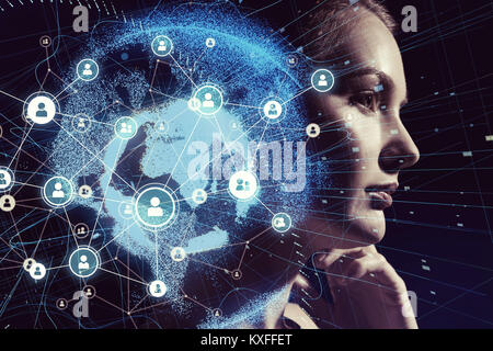 Global communication network and AI (Artificial Intelligence) concept. - Stock Photo
