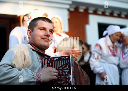Belarus, Gomel, May 20, 2017.Belarus, Gomel, May 20, 2017. Holiday in the branch of the Vetkovsky Museum.A man in - Stock Photo