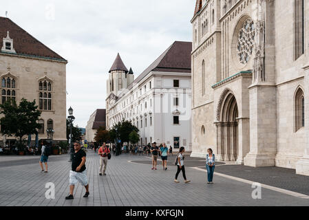 Budapest, Hungary - August 12, 2017:  Scenic view of street in the city of Buda near Mathias Church in Budapest - Stock Photo
