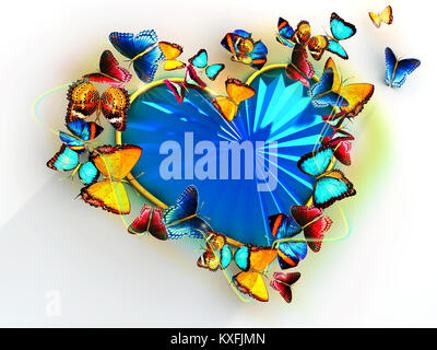 Multicolored butterflies flit around the heart as a precious blue stone. For Valentines Day. - Stock Photo