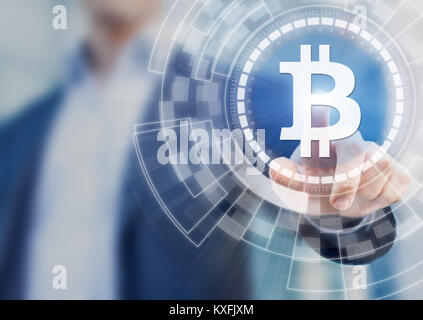 Businessman using bitcoin digital wallet blockchain technology for financial investment or payment solution, BTC - Stock Photo