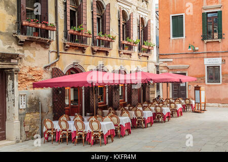 An outdoor restaurant in Veneto, Venice, Italy, Europe. - Stock Photo