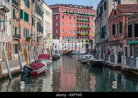 A scene along the Grand Canal in Veneto, Venice, Italy, Europe, - Stock Photo