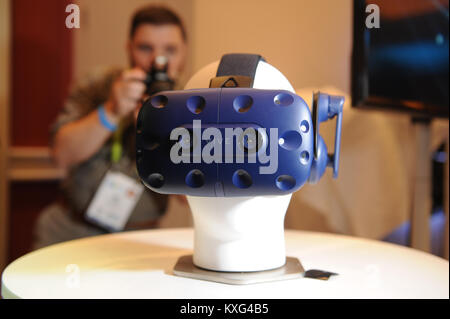Las Vegas, USA. 08th Jan, 2018. The glasses Vive Pro by the company HTC for the presentation of virtual reality - Stock Photo