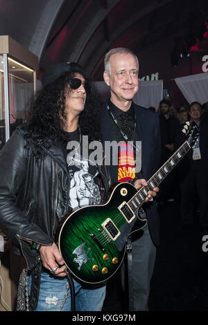 Las Vegas, NV, USA. 9th Jan, 2018. Slash and Gibson CEO Henry Juszkiewicz at the Gibson Tent at CES 2018 in Las - Stock Photo