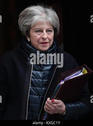London, UK. 10th Jan, 2018. Prime Minister Theresa May seen leaving 10 Downing Street, London. Credit: RM Press/Alamy - Stock Photo