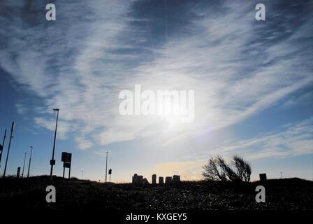 Isle of Portland, UK. 10 January 2018. Brilliant sunshine over the  'Memory Stones', the Isle of Portland's mini - Stock Photo