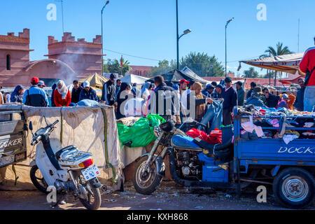 MARRAKECH, MOROCCO - DECEMBER 11: Crowd of people at bazaar in Marrakech. December 2016 - Stock Photo