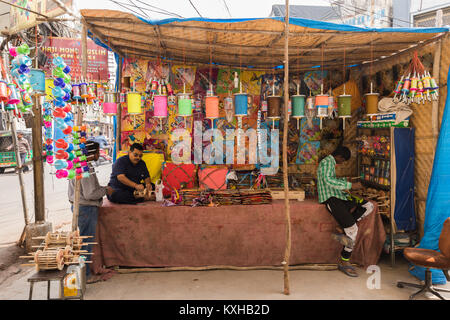 INDIA - CIRCA JANUARY 2018 A Kite shop sells different kinds of kites and kite line reels ahead of kite festival - Stock Photo