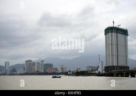 NHA TRANG, VIETNAM - CIRCA JANUARY 2017 Buildings on the coast - Stock Photo