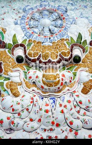 Dragon face on the wall of Long Son Pagoda in Nha Trang, Vietnam - Stock Photo