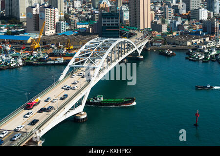 Busandaegyo bridge at the Port of Busan, The bridge connects the districts of Yeongdo District and Jung District. - Stock Photo