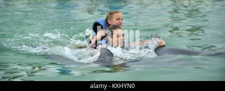 Happy beautiful girl and little daughter laughs and swims with dolphins in blue swimming pool on sunny day. Cuba - Stock Photo