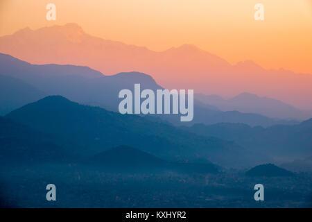 Sunset landscape Himalayas mountains, Pokhara, Nepal - Stock Photo