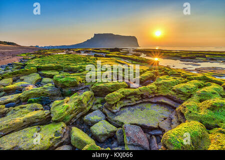 Sunrise at Jeju Do Seongsan Ilchulbong, Jeju Island, South Korea - Stock Photo