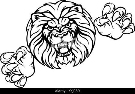Lion Animal Sports Mascot - Stock Photo