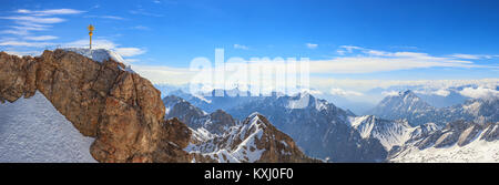 Zugspitze top of Germany panorama Alps mountain range, Garmisch Partenkirchen, Germany - Stock Photo
