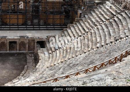 Theater ruins in Hieropolis, Pamukkale, Turkey - Stock Photo