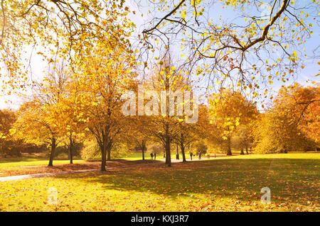 Green Park, London.  A young couple walk hand in hand amongst  colourful trees on a lovely sunny day in autumn. - Stock Photo