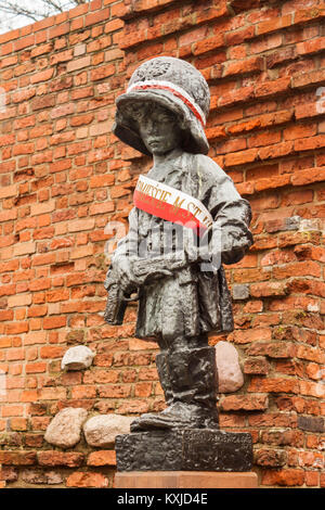 Warsaw, Poland - February 23, 2017: Monument to the Little Insurgent commemorating child soldiers who took part - Stock Photo