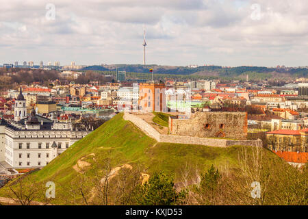 View of historical Gediminas hill with Gediminas Tower on it and the city of Vilnius from Three Crosses hill. Vilnius, - Stock Photo