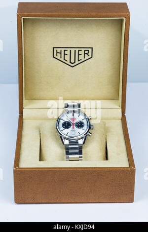 TAG Heuer Carrera Calibre 17 Automatic Chronograph 41 mm with stainless steal strap on white background. - Stock Photo