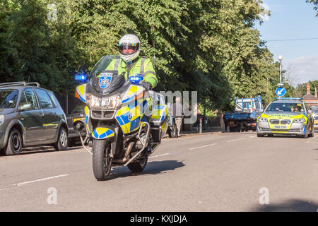 Thames Valley Police Motorcyclists riding BMW R1200RT Motorcycles - Stock Photo