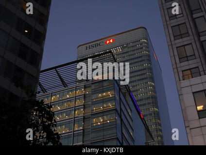 London, United Kingdom - September 11 2007:   Night shot of the HSBC tower in Carary Wharf - Stock Photo