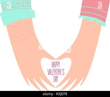 Hands of a loving couple shaping a heart. Valentines - Stock Photo