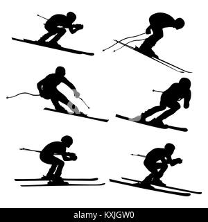 set alpine skiing athlete black silhouette - Stock Photo