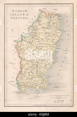 Map Of Wexford County Ireland.Antique Ireland Map Wexford County Enniscorthy Newtonbarry Gorey
