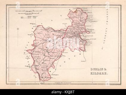 Antique Ireland Map Kildare County Athy Ballitore Kilcullen
