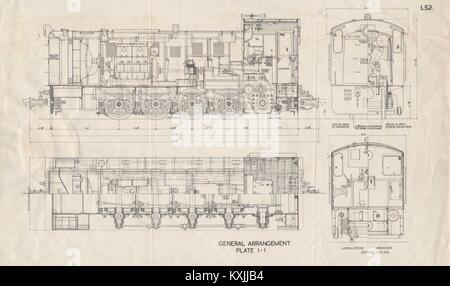 Locomotive plan section drawing. Plate I-I. L52. Trains railways 1930 print