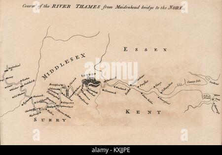 Course of the River Thames from Maidenhead bridge to the Nore 1792 old map - Stock Photo