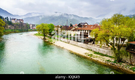 Scenic view of the Neretva River and surrounding mountains in Konjic, Bosnia - Stock Photo