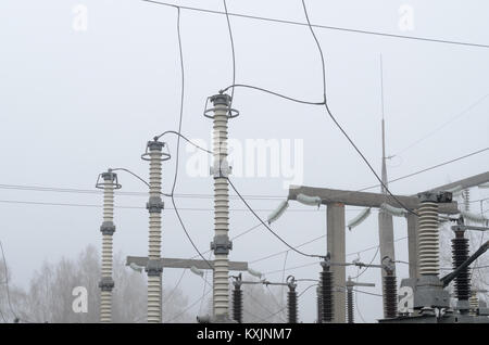 Electrical substation of high voltage with elements of insulating ...