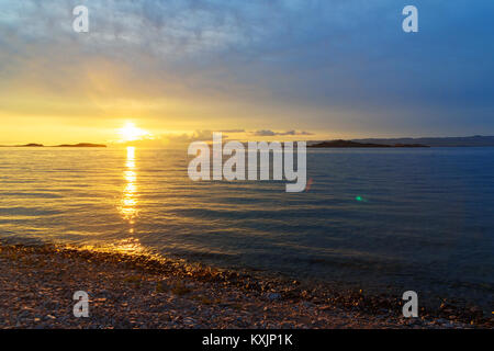 View of sunrise on Maloe More. Lake Baikal in the morning. Russia - Stock Photo