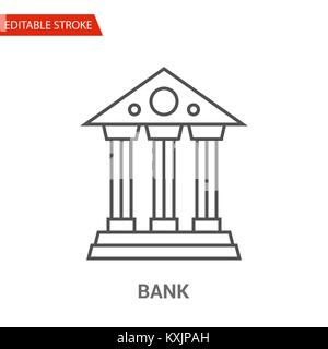 Bank Icon. Thin Line Vector Illustration - Stock Photo