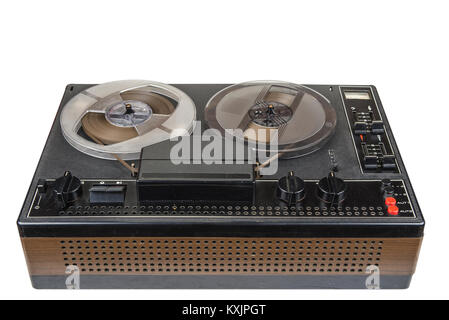 Old audio magnetic tape recorder reel to reel from seventies - Stock Photo