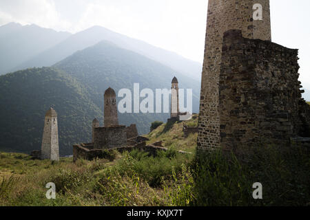 Erzi military medieval complex, Ingushetia/Chechnya, the oldest fortifications in the Nakh area date from the 3rd - Stock Photo