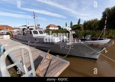 USN P22 (Rhine Maiden)  Gunboat  moored at the Quay, Sandwich Kent - Stock Photo