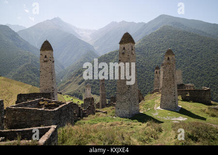 Medieval architecture of the Nakh peoples in Chechenya and Ingushetia mountains, built of stone blocks, possibly - Stock Photo