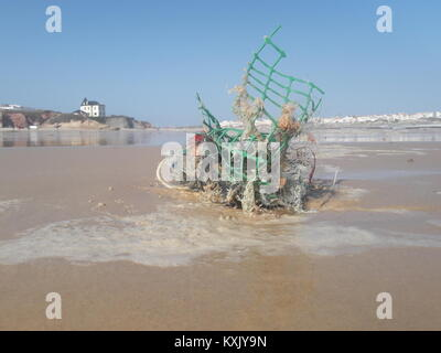 Marine Litter Sculpture at the Beach, Stranded Plastic Debris from Fishing Industry in beautiful Baleal. - Stock Photo