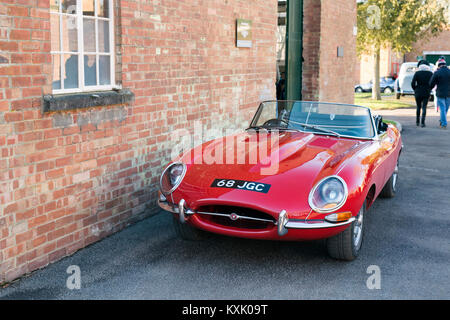 1964 red Jaguar e type at Bicester Heritage Centre. Oxfordshire, England - Stock Photo