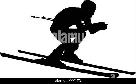 alpine skier athlete skiing downhill black silhouette - Stock Photo