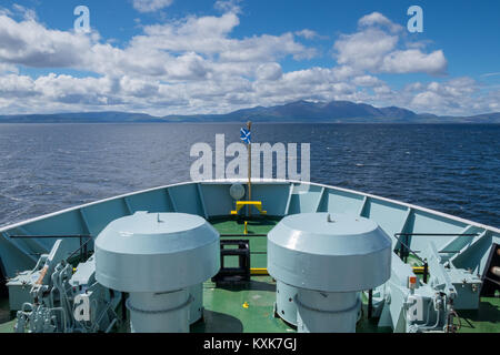 On board the Caledonian MacBrayne MV Isle of Arran heading toward Brodick, Isle of Arran. The islands highest peak, - Stock Photo