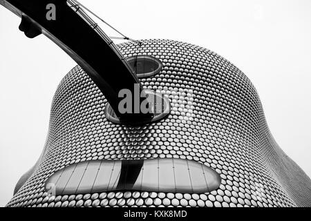 Black and white image looking up at the iconic Selfridges Building in the heart of Birmingham city centre.  The - Stock Photo