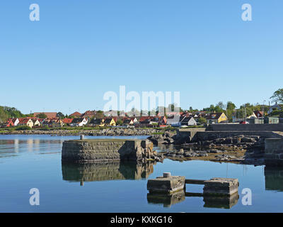 General view of a residential area of the small tourist town of Svaneke on the Danish holiday island of Bornholm. - Stock Photo
