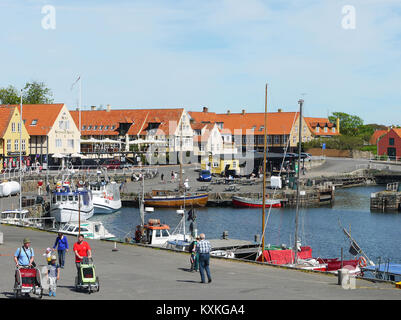 The small harbour and town of Svaneke on the Danish holiday island of Bornholm in the Baltic Sea off the southern - Stock Photo
